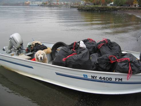 Buster in the Riverkeeper patrol boat after a beach cleanup near Haverstraw, NY.  Photo by: John Lipscomb