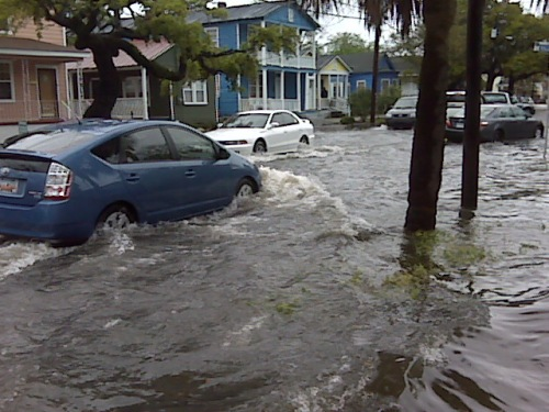 Flooding on the corner of Fishburne and Killians Street in downtown Charleston.  Photo: Cyrus Buffum